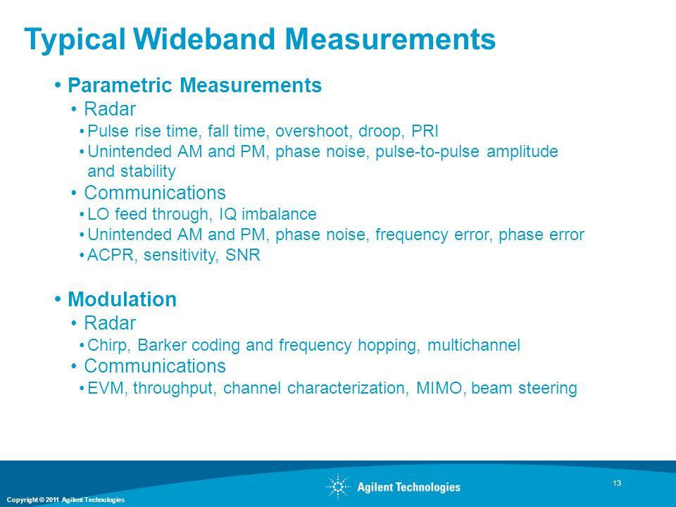 Copyright © 2011 Agilent Technologies Typical Wideband Measurements 13 Parametric Measurements Radar Pulse rise time, fall time, overshoot, droop, PRI