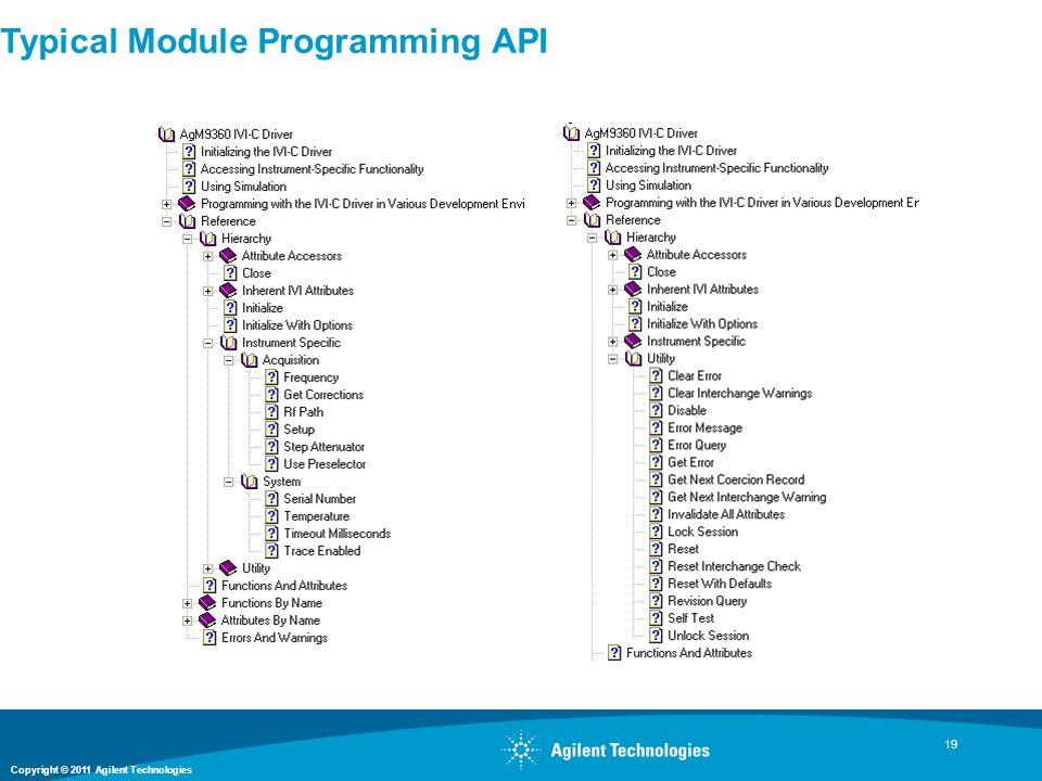 Copyright © 2011 Agilent Technologies 19 Typical Module Programming API