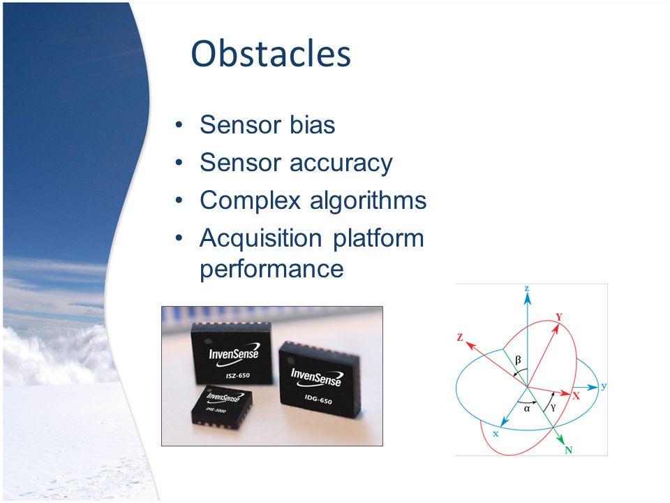 Obstacles Sensor bias Sensor accuracy Complex algorithms Acquisition platform performance