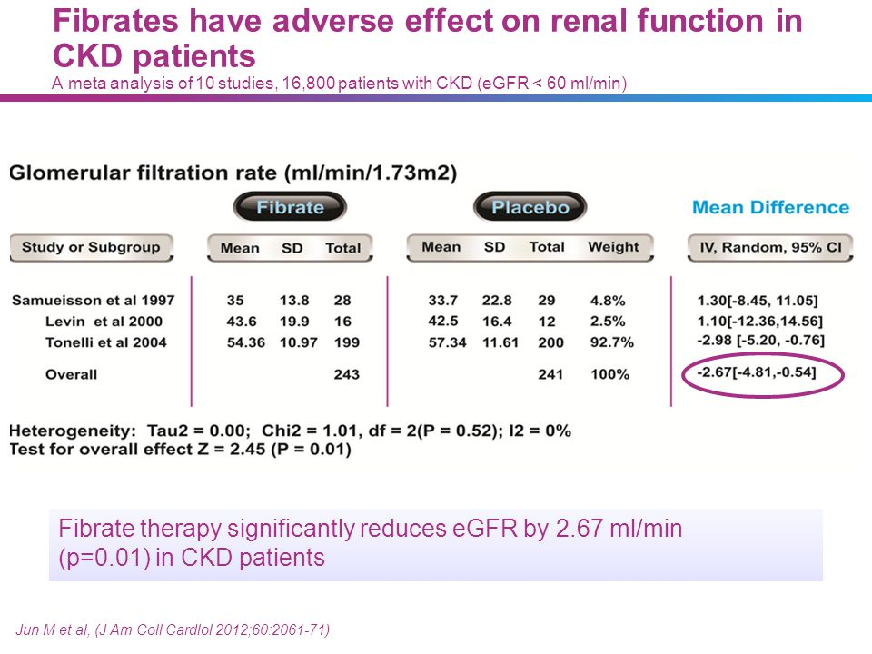 Jun M et al, (J Am Coll Cardlol 2012;60:2061-71) Fibrate therapy significantly reduces eGFR by 2.67 ml/min (p=0.01) in CKD patients Fibrates have adve