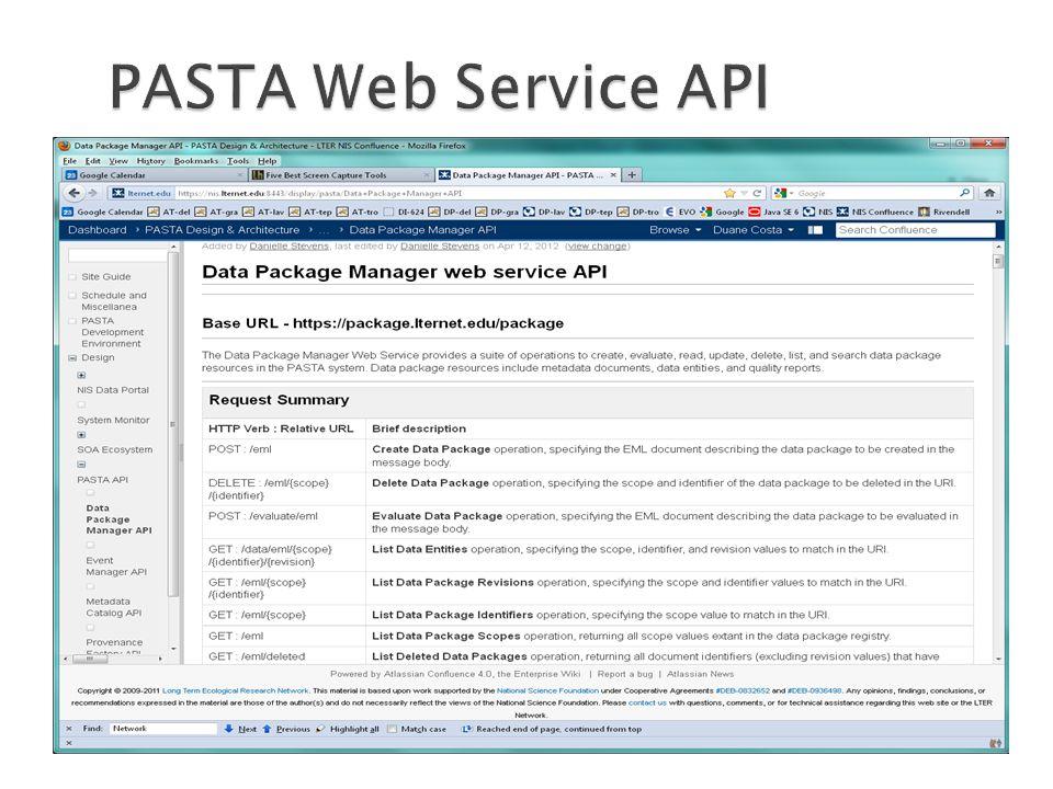PASTA Web Service API