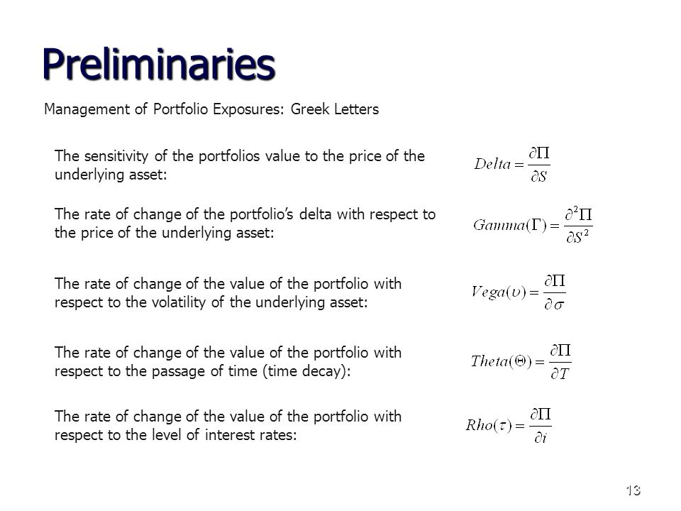 13 Preliminaries Management of Portfolio Exposures: Greek Letters The sensitivity of the portfolios value to the price of the underlying asset: The rate of change of the portfolios delta with respect to the price of the underlying asset: The rate of change of the value of the portfolio with respect to the volatility of the underlying asset: The rate of change of the value of the portfolio with respect to the passage of time (time decay): The rate of change of the value of the portfolio with respect to the level of interest rates: