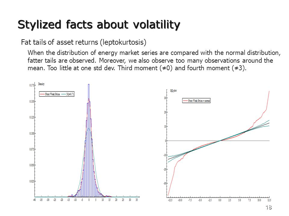18 Stylized facts about volatility Fat tails of asset returns (leptokurtosis) When the distribution of energy market series are compared with the normal distribution, fatter tails are observed.