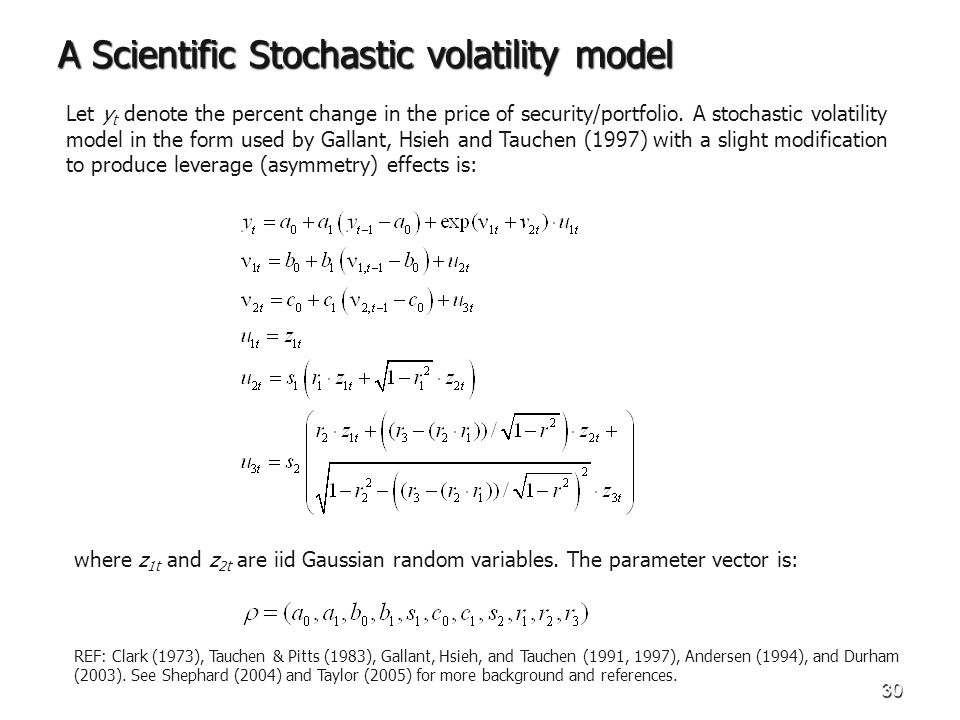 30 A Scientific Stochastic volatility model Let y t denote the percent change in the price of security/portfolio.