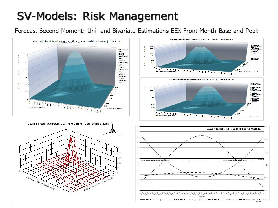 53 SV-Models: Risk Management Forecast Second Moment: Uni- and Bivariate Estimations EEX Front Month Base and Peak