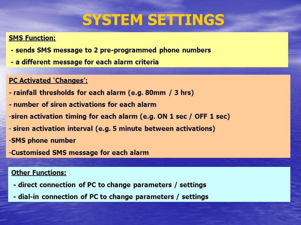 SYSTEM SETTINGS SMS Function: - sends SMS message to 2 pre-programmed phone numbers - a different message for each alarm criteria PC Activated Changes: - rainfall thresholds for each alarm (e.g.
