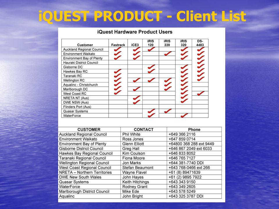 iQUEST PRODUCT - Client List
