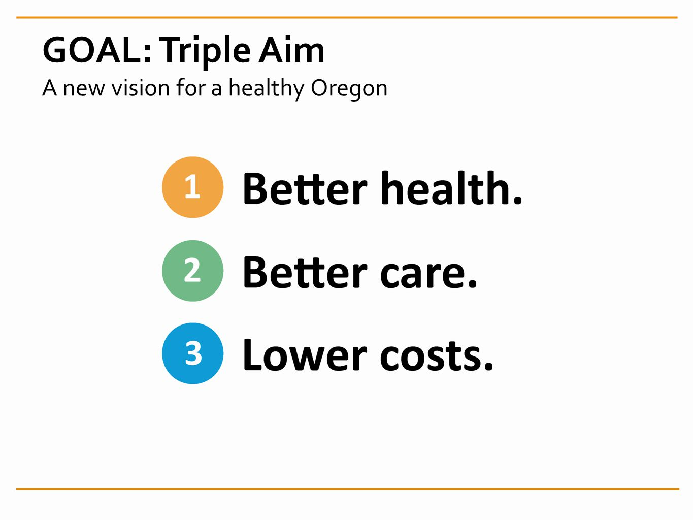 GOAL: Triple Aim A new vision for a healthy Oregon