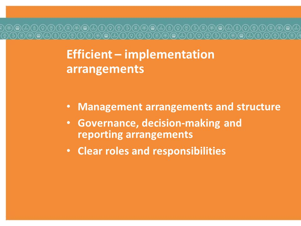 Efficient – implementation arrangements Management arrangements and structure Governance, decision-making and reporting arrangements Clear roles and responsibilities