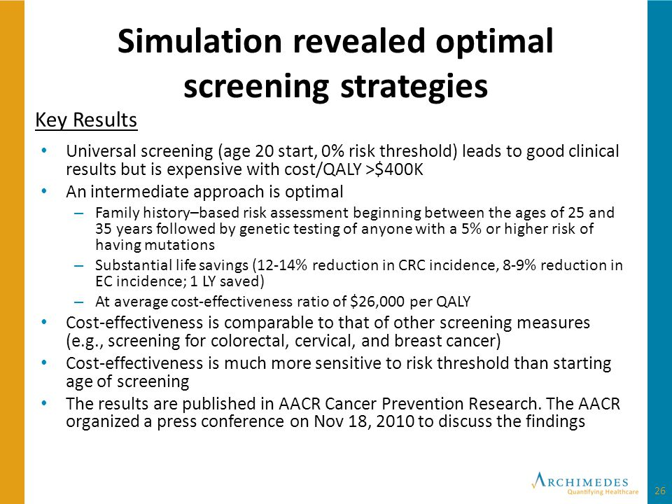 Simulation revealed optimal screening strategies Universal screening (age 20 start, 0% risk threshold) leads to good clinical results but is expensive with cost/QALY >$400K An intermediate approach is optimal – Family history–based risk assessment beginning between the ages of 25 and 35 years followed by genetic testing of anyone with a 5% or higher risk of having mutations – Substantial life savings (12-14% reduction in CRC incidence, 8-9% reduction in EC incidence; 1 LY saved) – At average cost-effectiveness ratio of $26,000 per QALY Cost-effectiveness is comparable to that of other screening measures (e.g., screening for colorectal, cervical, and breast cancer) Cost-effectiveness is much more sensitive to risk threshold than starting age of screening The results are published in AACR Cancer Prevention Research.