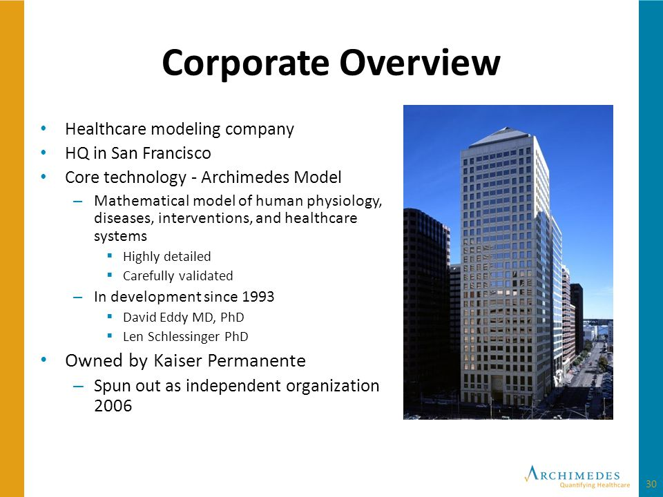 Corporate Overview Healthcare modeling company HQ in San Francisco Core technology - Archimedes Model – Mathematical model of human physiology, diseases, interventions, and healthcare systems Highly detailed Carefully validated – In development since 1993 David Eddy MD, PhD Len Schlessinger PhD Owned by Kaiser Permanente – Spun out as independent organization