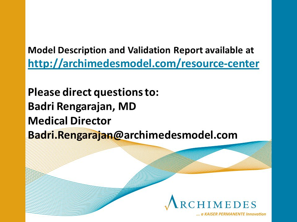 Model Description and Validation Report available at   Please direct questions to: Badri Rengarajan, MD Medical Director