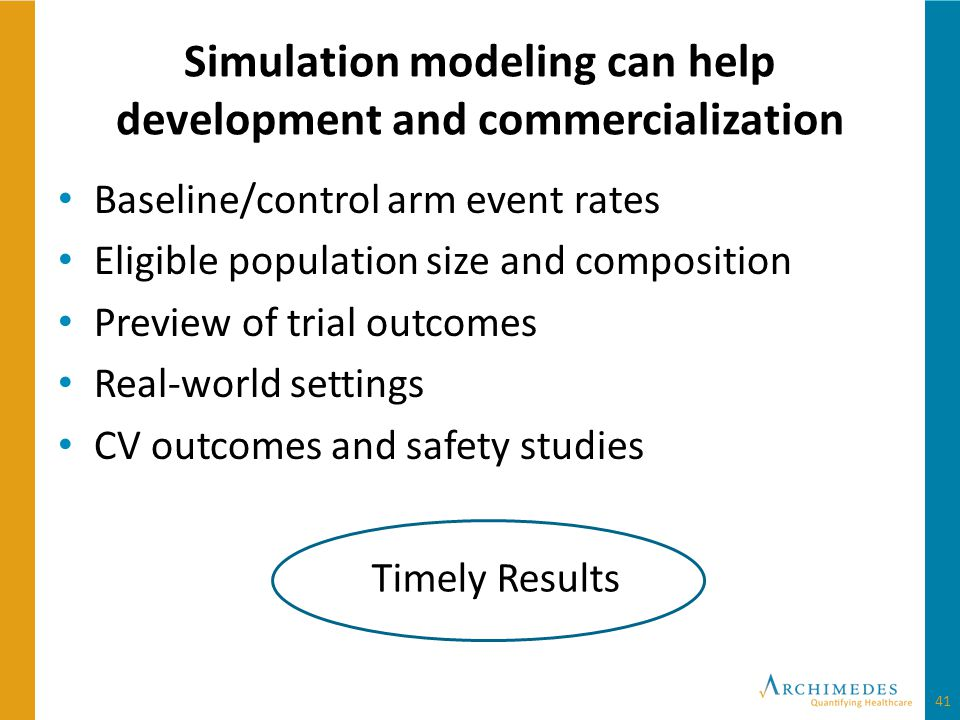 Simulation modeling can help development and commercialization Baseline/control arm event rates Eligible population size and composition Preview of trial outcomes Real-world settings CV outcomes and safety studies Timely Results 41
