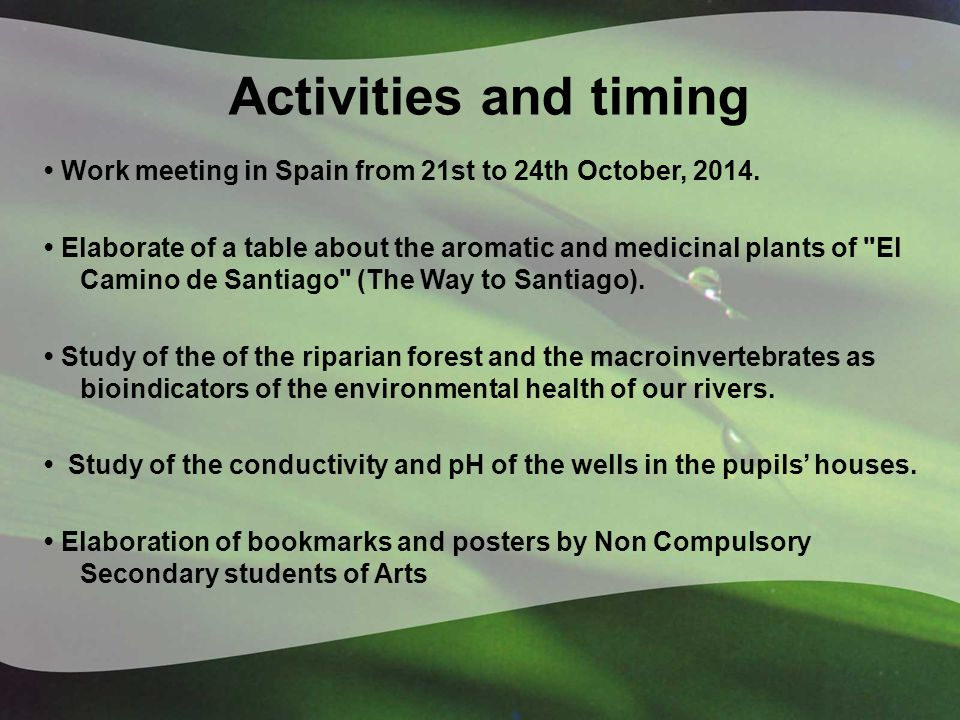Activities and timing Work meeting in Spain from 21st to 24th October, 2014.