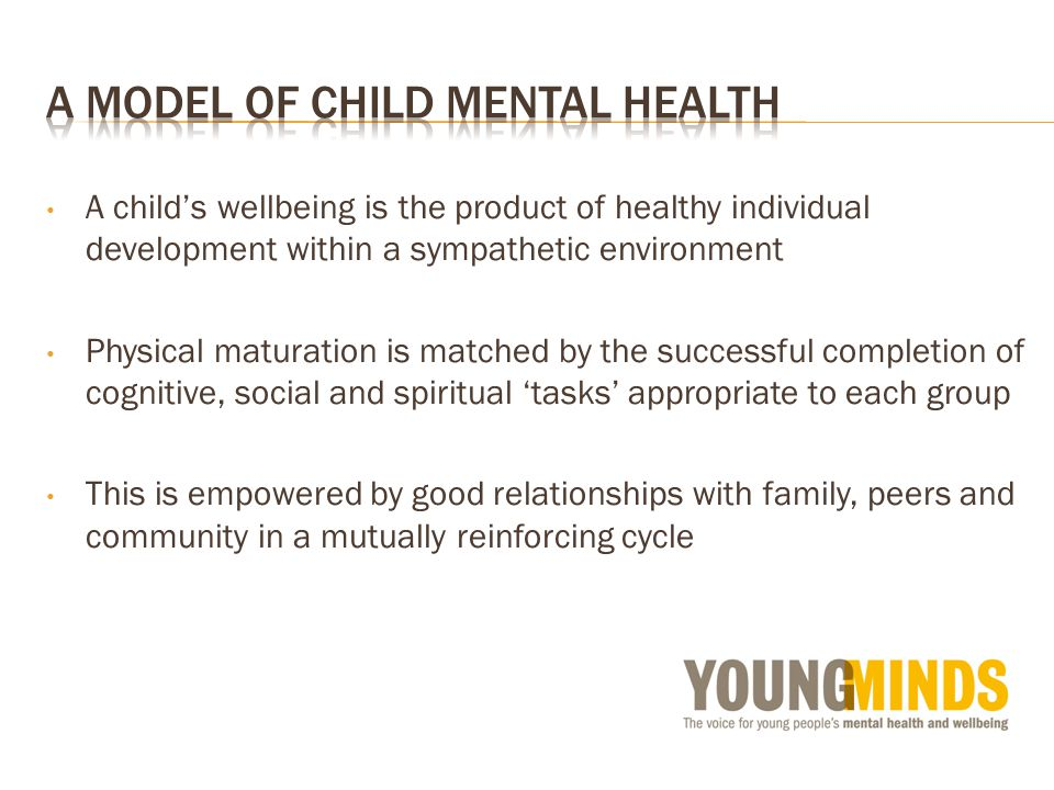 A childs wellbeing is the product of healthy individual development within a sympathetic environment Physical maturation is matched by the successful completion of cognitive, social and spiritual tasks appropriate to each group This is empowered by good relationships with family, peers and community in a mutually reinforcing cycle