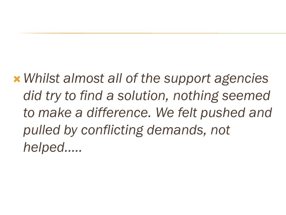 Whilst almost all of the support agencies did try to find a solution, nothing seemed to make a difference.