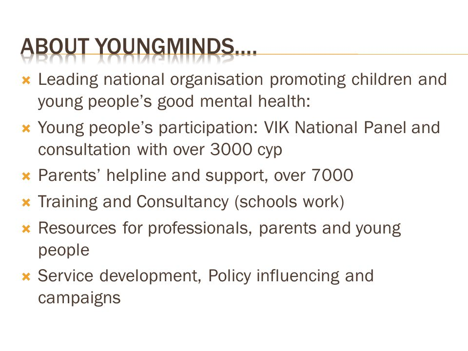 Leading national organisation promoting children and young peoples good mental health: Young peoples participation: VIK National Panel and consultation with over 3000 cyp Parents helpline and support, over 7000 Training and Consultancy (schools work) Resources for professionals, parents and young people Service development, Policy influencing and campaigns