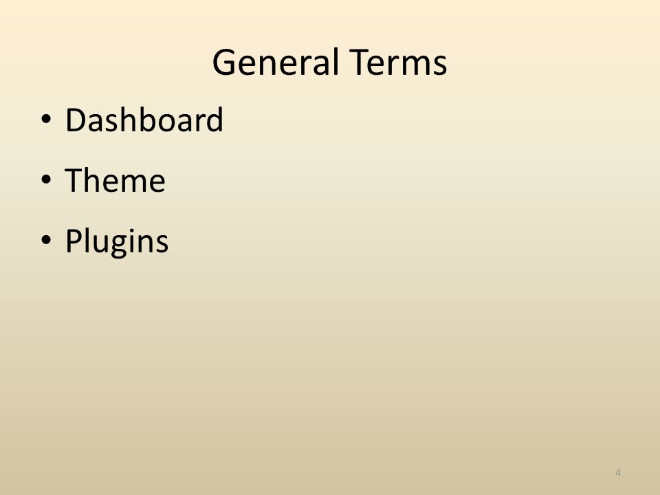 General Terms Dashboard Theme Plugins 4