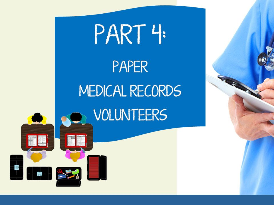 A screening sticker with the chart number written on it is placed on the patient, in the event that they are separated from their chart & for quick reference of what number they are.