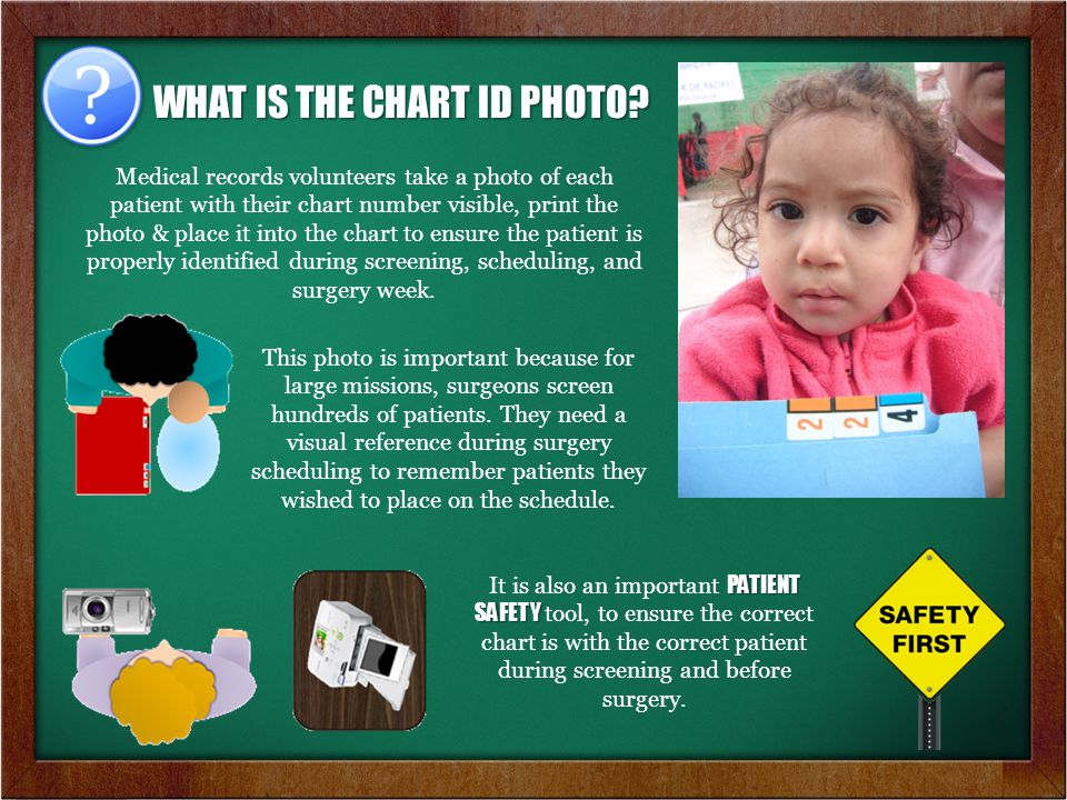 WHAT IS THE CHART ID PHOTO? Medical records volunteers take a photo of each patient with their chart number visible, print the photo & place it into t