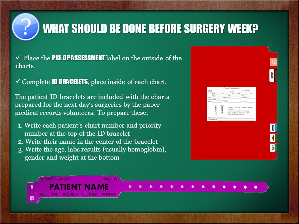 WHAT SHOULD BE DONE BEFORE SURGERY WEEK.