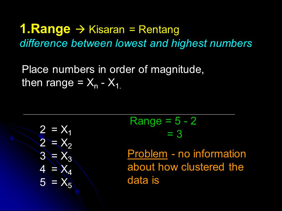 1.Range Kisaran = Rentang difference between lowest and highest numbers Place numbers in order of magnitude, then range = X n - X 1.