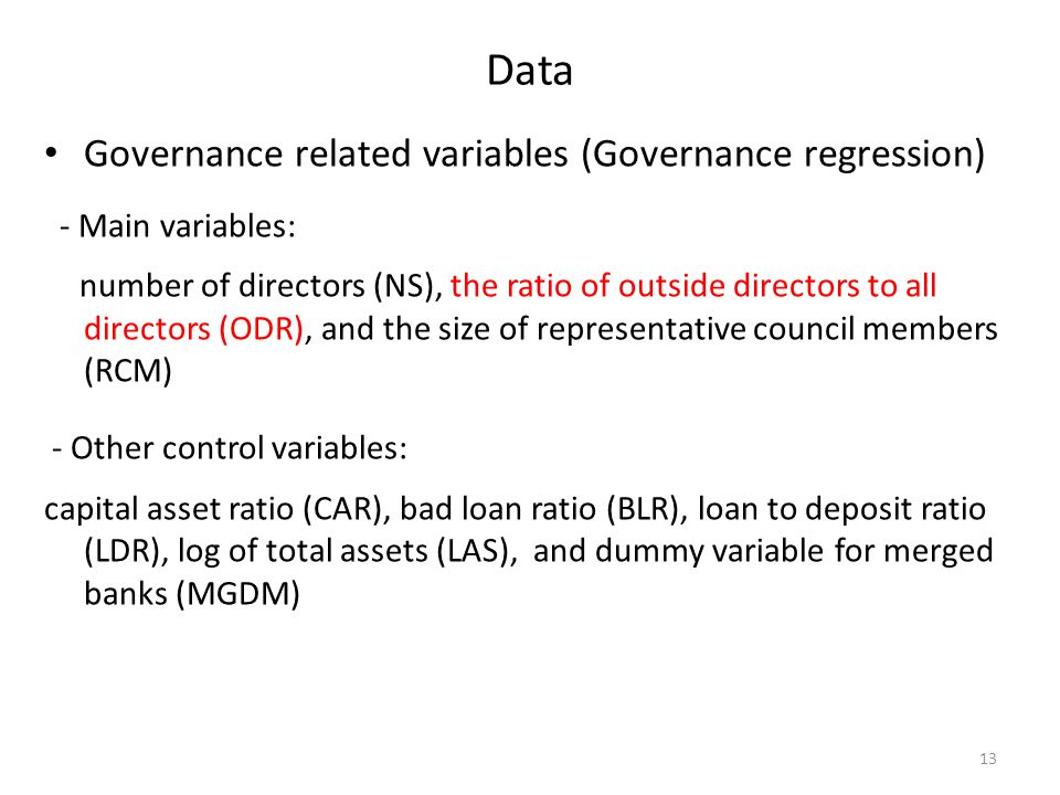 Data Governance related variables (Governance regression) Main variables: number of directors (NS), the ratio of outside directors to all directors (O