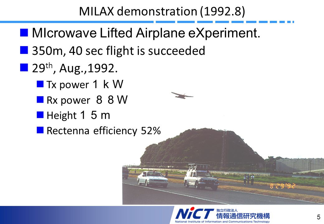 5 MILAX demonstration (1992.8) MIcrowave Lifted Airplane eXperiment.