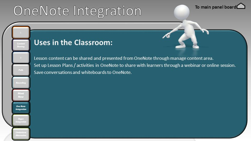 Content Sharing 3 Polls One Note Integration 1 Recording Meet Now Skype Integration Uses in the Classroom: Lesson content can be shared and presented from OneNote through manage content area.