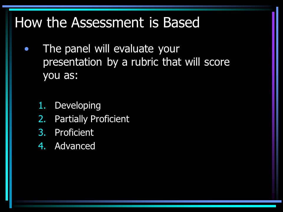 How the Assessment is Based The panel will evaluate your presentation by a rubric that will score you as: 1.Developing 2.Partially Proficient 3.Proficient 4.Advanced