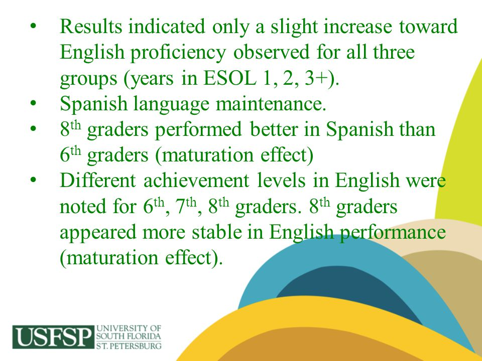 Results indicated only a slight increase toward English proficiency observed for all three groups (years in ESOL 1, 2, 3+). Spanish language maintenan