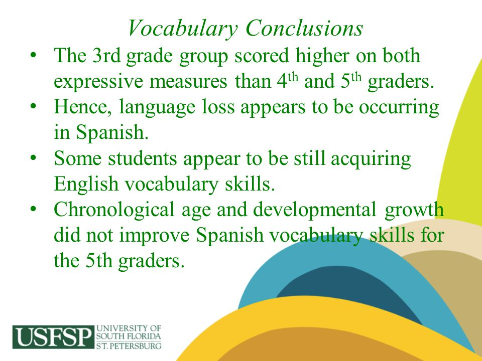 Vocabulary Conclusions The 3rd grade group scored higher on both expressive measures than 4 th and 5 th graders. Hence, language loss appears to be oc