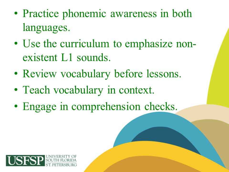 Practice phonemic awareness in both languages. Use the curriculum to emphasize non- existent L1 sounds. Review vocabulary before lessons. Teach vocabu