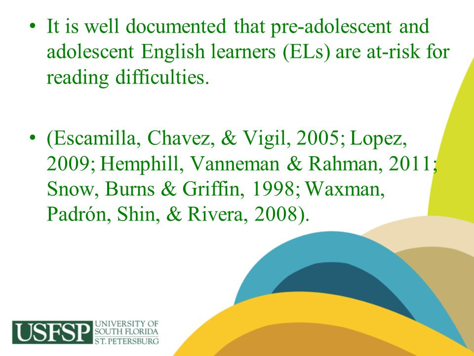 Kohler and Lazarín (2007) stated, nationally only 29% of English Learners (EL) 8th grade students scored at or above the basic reading achievement levels.