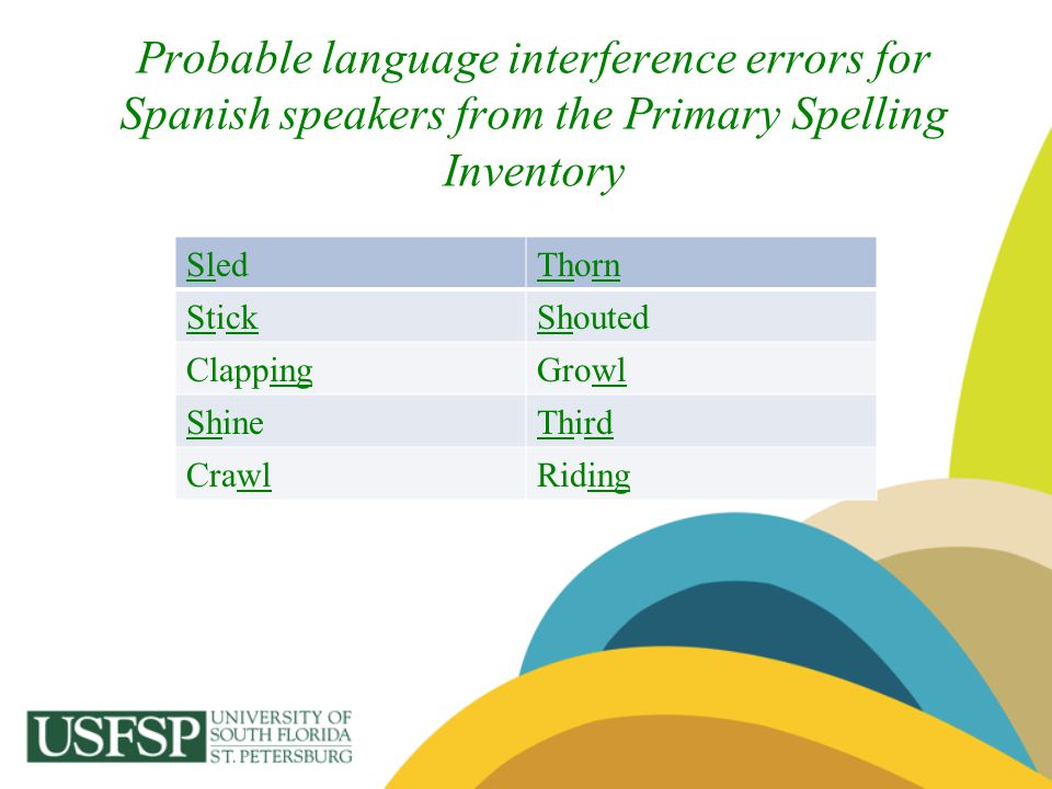 Probable language interference errors for Spanish speakers from the Primary Spelling Inventory SledThorn StickShouted ClappingGrowl ShineThird CrawlRi