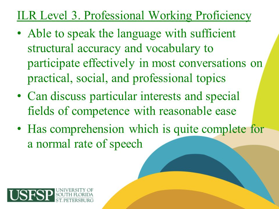 ILR Level 3. Professional Working Proficiency Able to speak the language with sufficient structural accuracy and vocabulary to participate effectively