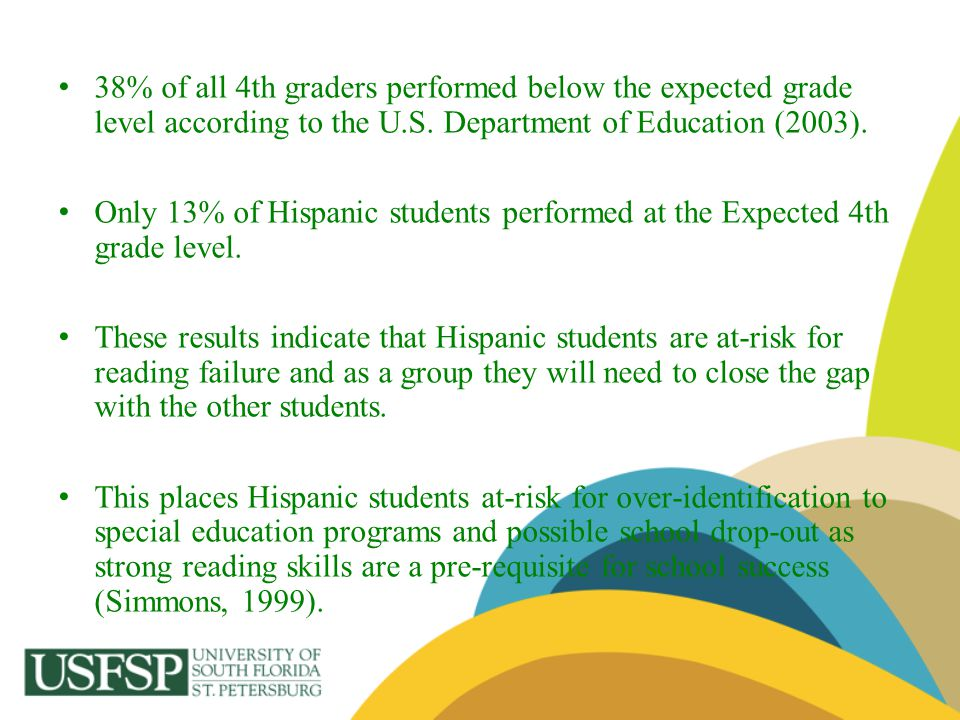 38% of all 4th graders performed below the expected grade level according to the U.S. Department of Education (2003). Only 13% of Hispanic students pe
