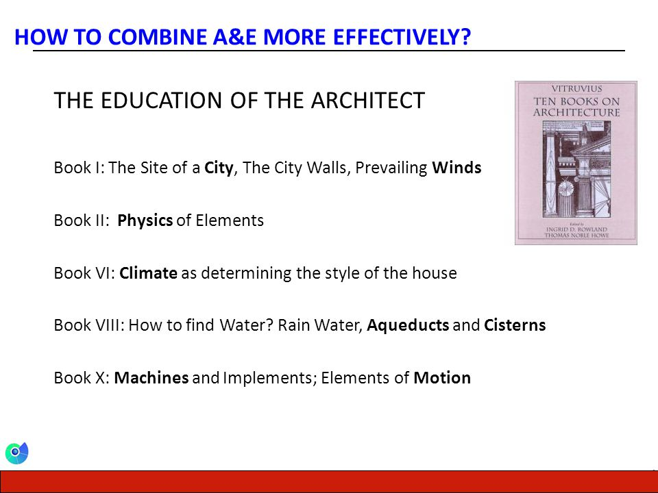 CENTER FOR ENERGY, ENVIRONMENT AND ECONOMY THE EDUCATION OF THE ARCHITECT Book I: The Site of a City, The City Walls, Prevailing Winds Book II: Physic