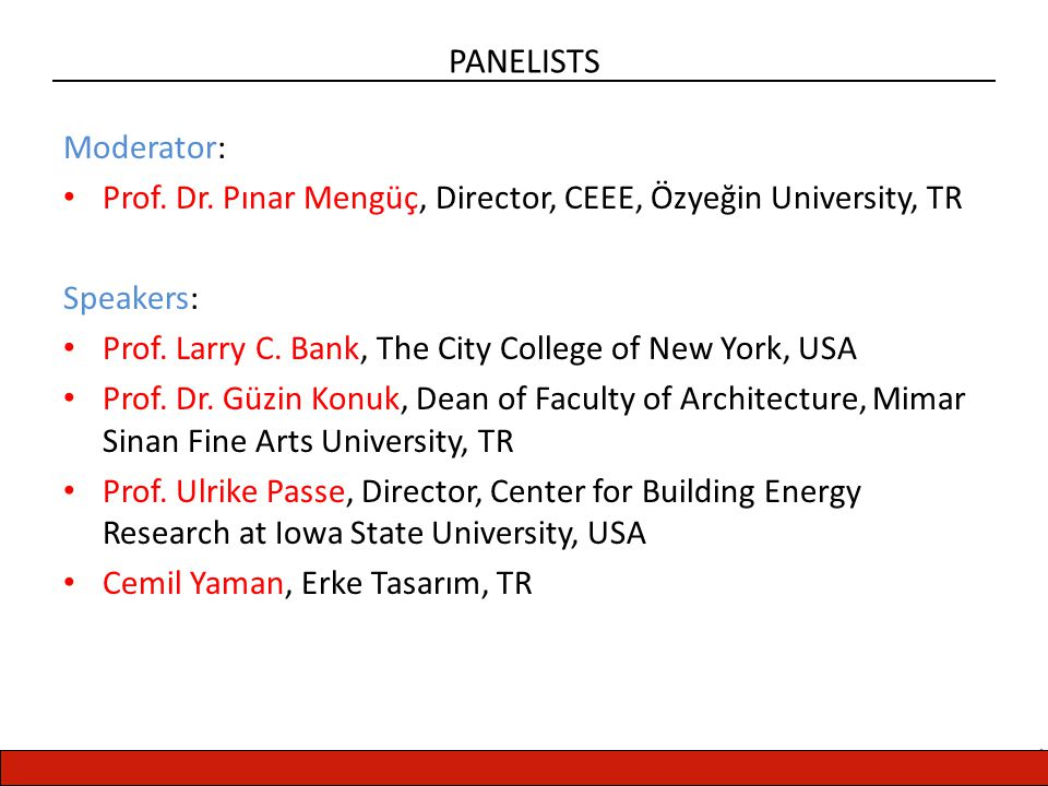 CENTER FOR ENERGY, ENVIRONMENT AND ECONOMY PANELISTS Moderator: Prof.