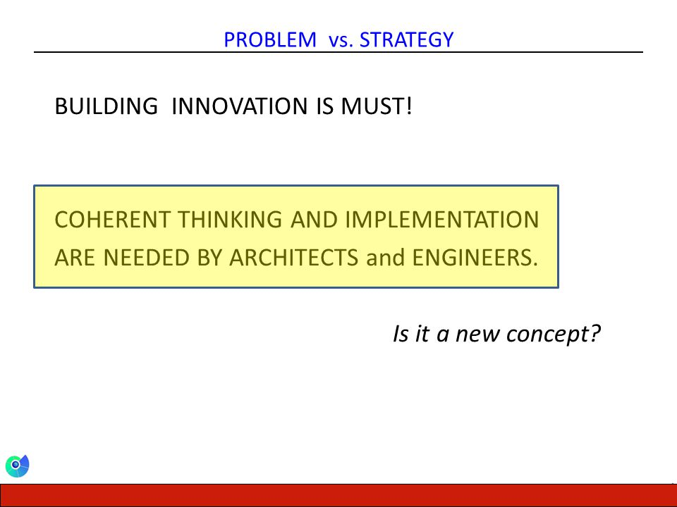 CENTER FOR ENERGY, ENVIRONMENT AND ECONOMY PROBLEM vs. STRATEGY BUILDING INNOVATION IS MUST! COHERENT THINKING AND IMPLEMENTATION ARE NEEDED BY ARCHIT