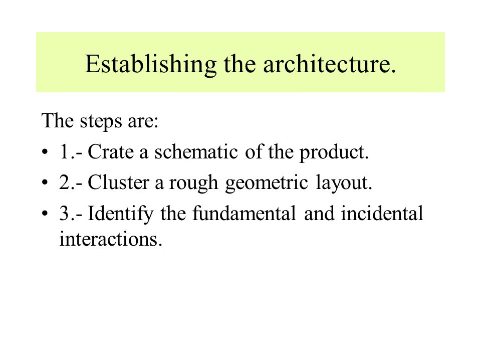 Integral architecture An integral architecture has the following properties: Functional elements of the product are implemented using more than one components (chunks).(many-components- to-one function) A single component implements many functional elements.