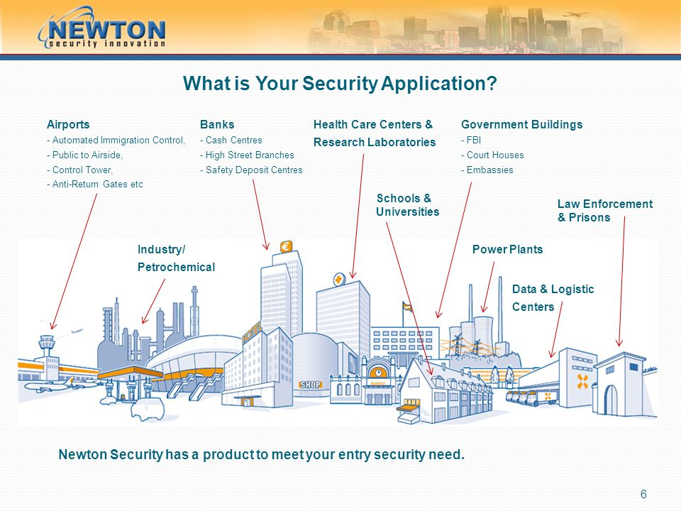 A Continuum of Anti-Tailgating Security The Newton Security product line delivers scalable levels of protection ranging from basic, single-person entry detection and alarm, to the highest precision of detection and entry prevention.