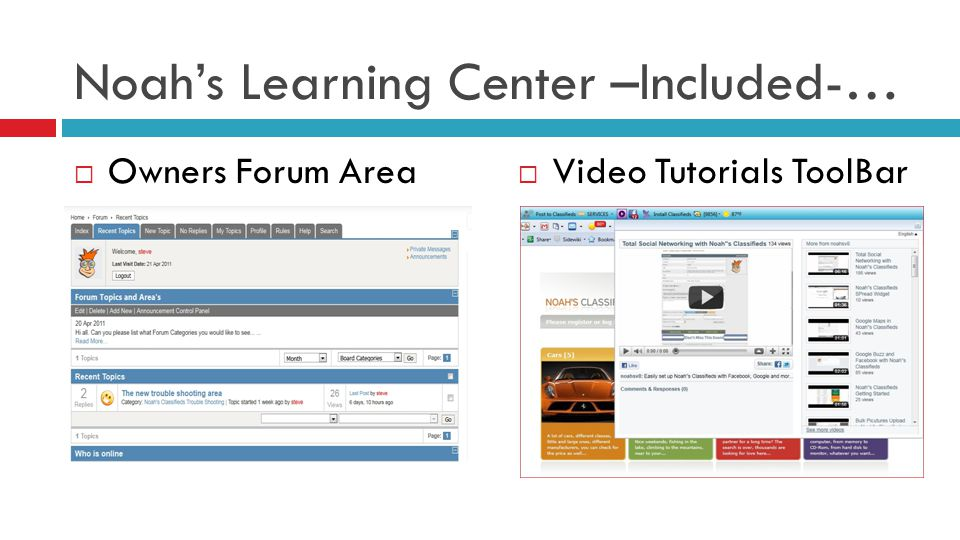 Noahs Learning Center –Included-… Owners Forum Area Video Tutorials ToolBar