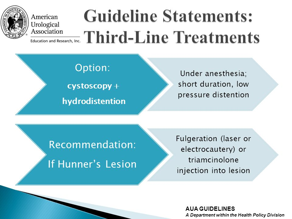 Option: cystoscopy + hydrodistention Under anesthesia; short duration, low pressure distention Recommendation: If Hunners Lesion Fulgeration (laser or