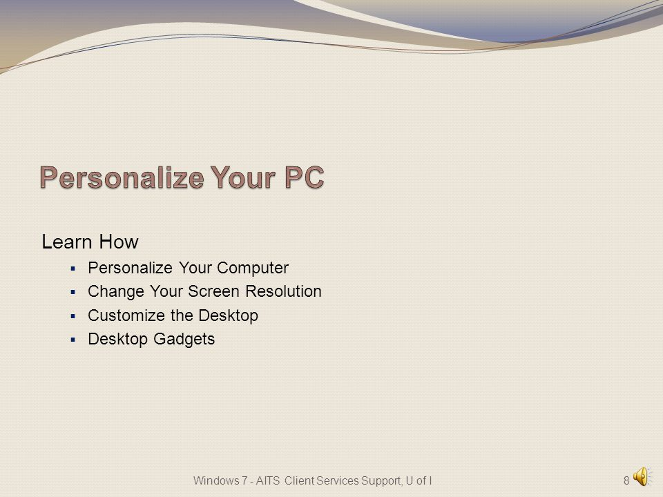 Learn How Personalize Your Computer Change Your Screen Resolution Customize the Desktop Desktop Gadgets 8Windows 7 - AITS Client Services Support, U of I