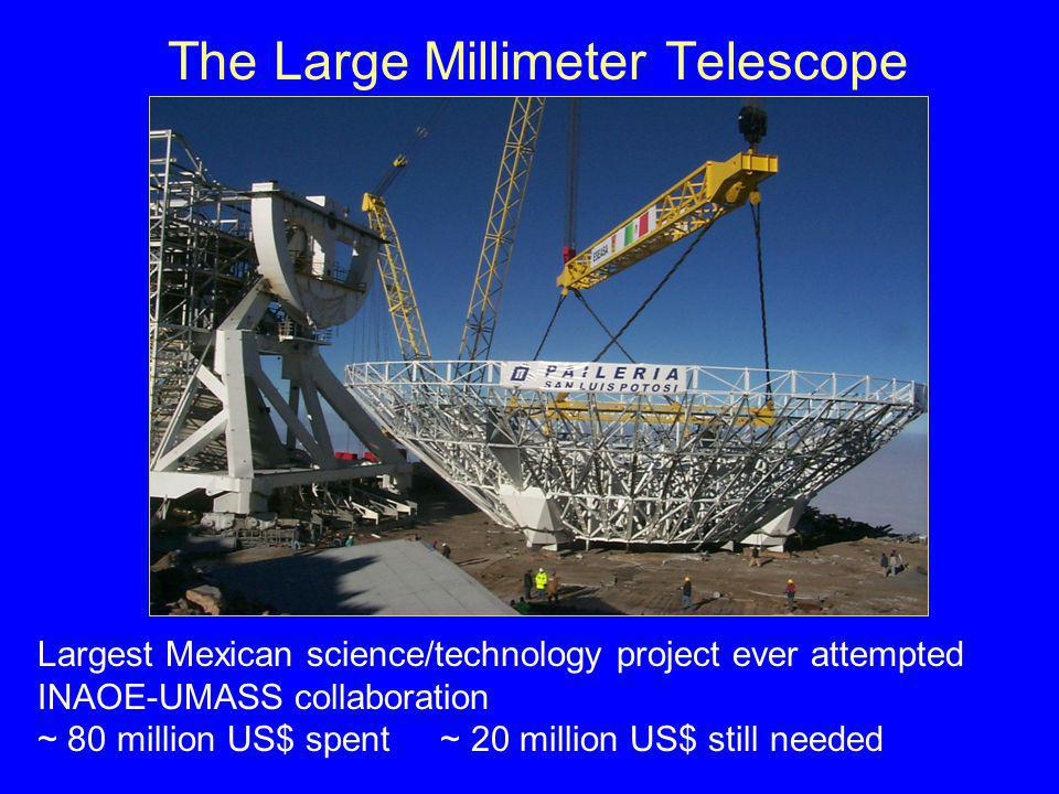 The Large Millimeter Telescope Largest Mexican science/technology project ever attempted INAOE-UMASS collaboration ~ 80 million US$ spent ~ 20 million US$ still needed