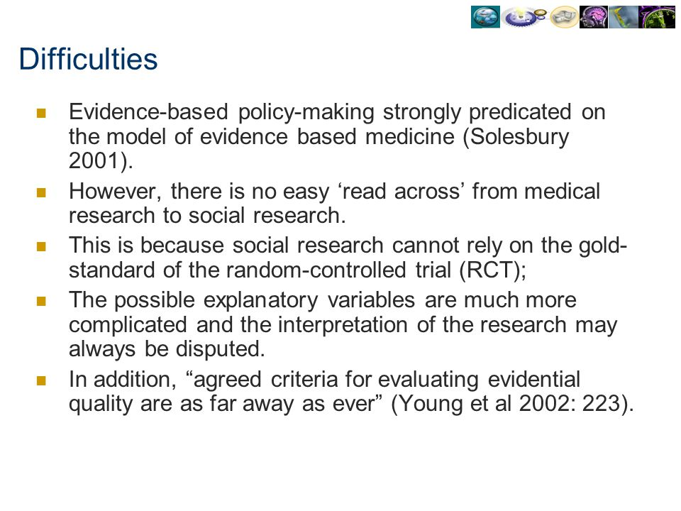 Difficulties Evidence-based policy-making strongly predicated on the model of evidence based medicine (Solesbury 2001). However, there is no easy read