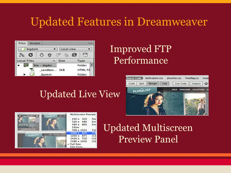 Updated Features in Dreamweaver Improved FTP Performance Updated Live View Updated Multiscreen Preview Panel