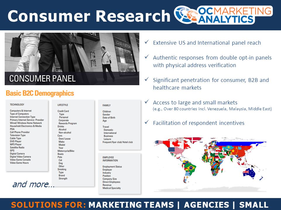 SOLUTIONS FOR: MARKETING TEAMS | AGENCIES | SMALL BUSINESS Consumer Research Extensive US and International panel reach Authentic responses from doubl