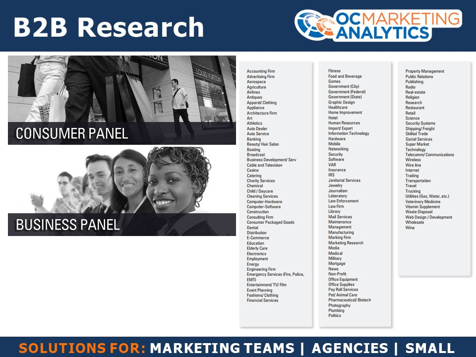 SOLUTIONS FOR: MARKETING TEAMS | AGENCIES | SMALL BUSINESS B2B Research